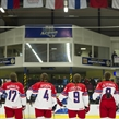 PREROV, CZECH REPUBLIC - JANUARY 07: Czech Republic look on during the national anthems prior to preliminary round action against Japan at the 2017 IIHF Ice Hockey U18 Women's World Championship. (Photo by Steve Kingsman/HHOF-IIHF Images)
