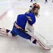 ZLIN, CZECH REPUBLIC - JANUARY 7: Sweden's Anna Amholt #30 stretches ahead of preliminary round action against Canada at the 2017 IIHF Ice Hockey U18 Women's World Championship. (Photo by Andrea Cardin/HHOF-IIHF Images)