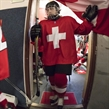 PREROV, CZECH REPUBLIC - JANUARY 13:  Switzerland players leave the dressing room prior to relegation round action against Japan at the 2017 IIHF Ice Hockey U18 Women's World Championship. (Photo by Steve Kingsman/HHOF-IIHF Images)