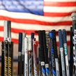 ZLIN, CZECH REPUBLIC - JANUARY 14: Game sticks prepared in Team USA's dressing room in advance of gold medal game action against Canada at the 2017 IIHF Ice Hockey U18 Women's World Championship. (Photo by Andrea Cardin/HHOF-IIHF Images)